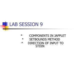 LAB SESSION 9