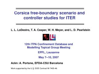 Corsica free-boundary scenario and controller studies for ITER
