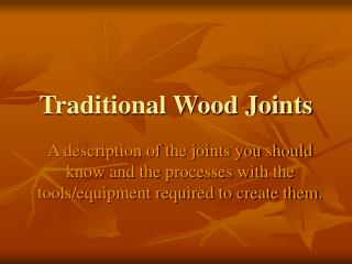 Traditional Wood Joints