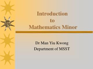 Introduction  to   Mathematics Minor