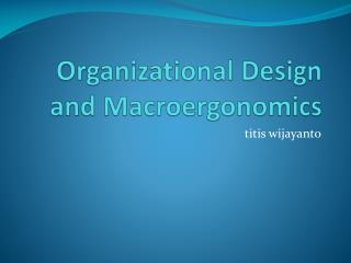 Organizational Design and  Macroergonomics