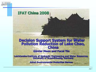 Decision Support System for Water Pollution Reduction of Lake Chao, China