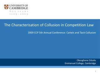 The Characterisation of Collusion in Competition Law