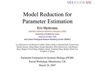 Model Reduction for  Parameter Estimation