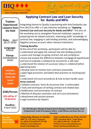 Applying Contract Law and Loan Security for  Banks and MFIs