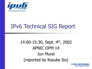 IPv6 Technical SIG Report