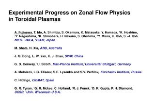 Experimental Progress on Zonal Flow Physics in Toroidal Plasmas