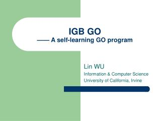 IGB GO —— A self-learning GO program