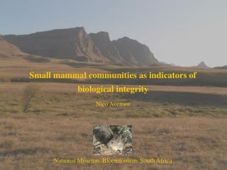 Small mammal communities as indicators of  biological integrity Nico Avenant