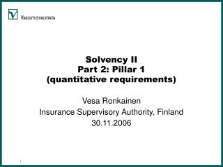 Solvency II Part 2: Pillar 1 (quantitative requirements)