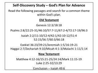 Self-Discovery Study – God's Plan for Advance