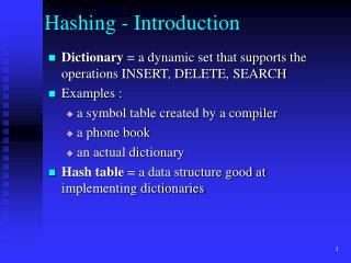 Hashing - Introduction