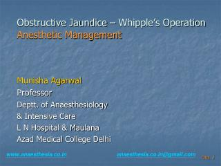 Obstructive Jaundice – Whipple's Operation Anesthetic Management