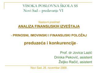 VISOKA POSLOVNA ŠKOLA SS       Novi Sad – predavanje VI