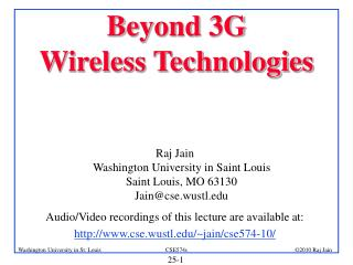 Beyond 3G Wireless Technologies