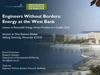 Engineers Without Borders: Energy at the West Bank