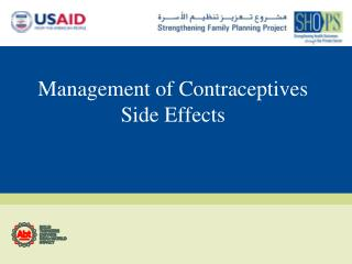 Management of Contraceptives Side Effects