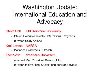 Washington Update: International Education and Advocacy
