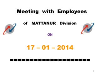 Meeting  with  Employees   of   MATTANUR   Division ON 17 – 01 – 2014 ====================