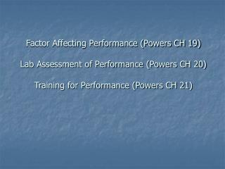 Factors Affecting Performance