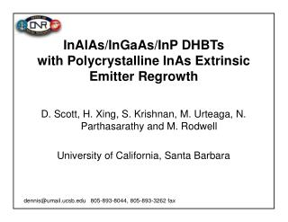 InAlAs/InGaAs/InP DHBTs  with Polycrystalline InAs Extrinsic  Emitter Regrowth