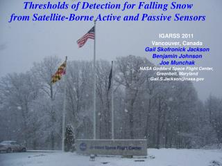 Thresholds of Detection for Falling Snow  from Satellite-Borne Active and Passive Sensors