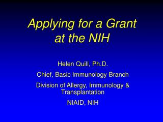 Applying for a Grant at the NIH