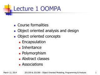 Lecture 1 OOMPA
