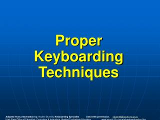 Proper Keyboarding Techniques