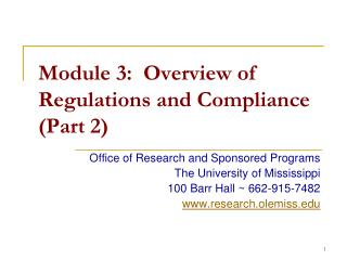 Module 3:  Overview of Regulations and Compliance (Part 2)