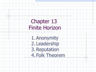 Chapter 13 Finite Horizon