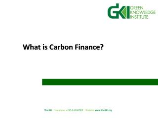 What is Carbon Finance?