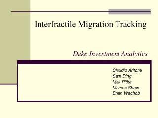 Duke Investment Analytics