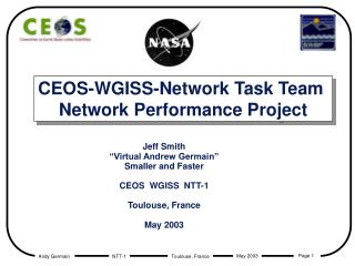 CEOS-WGISS-Network Task Team  Network Performance Project