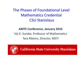 The Phases of Foundational Level Mathematics Credential  CSU Stanislaus