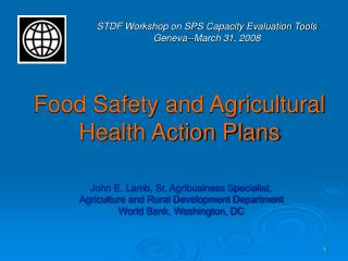 Food Safety and Agricultural Health Action Plans