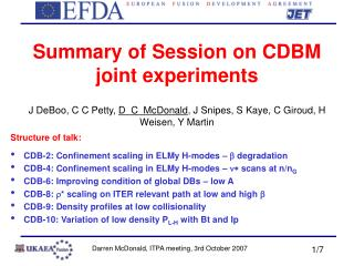 Summary of Session on CDBM joint experiments