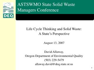ASTSWMO State Solid Waste Managers Conference