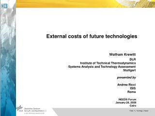 External costs of future technologies