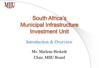 South Africa's Municipal Infrastructure Investment Unit