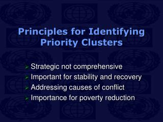 Principles for Identifying Priority Clusters