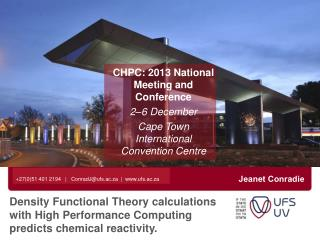 CHPC: 2013 National Meeting and Conference 2–6 December Cape Town International Convention Centre