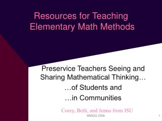 Resources for Teaching  Elementary Math Methods