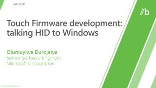 Touch  Firmware  d evelopment: talking  HID to Windows