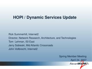 HOPI / Dynamic Services Update