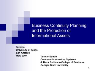 Business Continuity Planning and the Protection of Informational Assets
