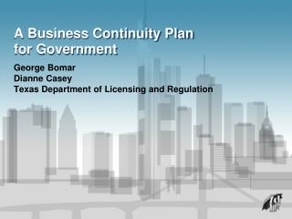 A Business Continuity Plan for Government