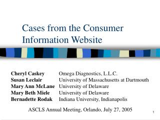 Cases from the Consumer Information Website