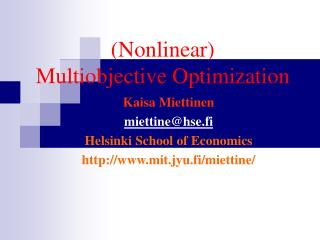 (Nonlinear)  Multiobjective Optimization