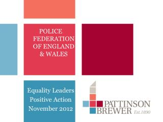 POLICE FEDERATION OF ENGLAND & WALES  Equality Leaders Positive Action  November 2012